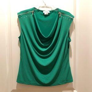 Calvin Klein green top, M, gorgeous color